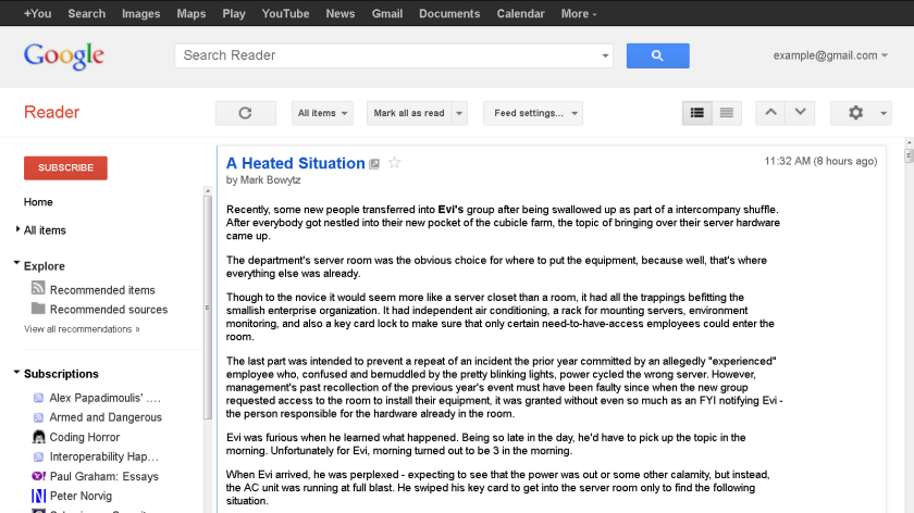 Google Reader default user interface