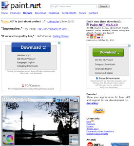 Paint.net homepage screenshot