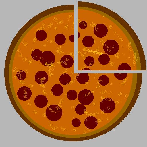 A quarter cut out of a pizza